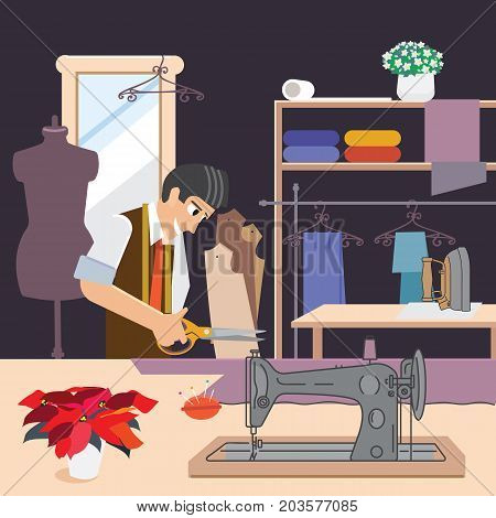 A tailor in sewing clothes, vector illustration. Cutter at work. Male seamstress tailors from fabric