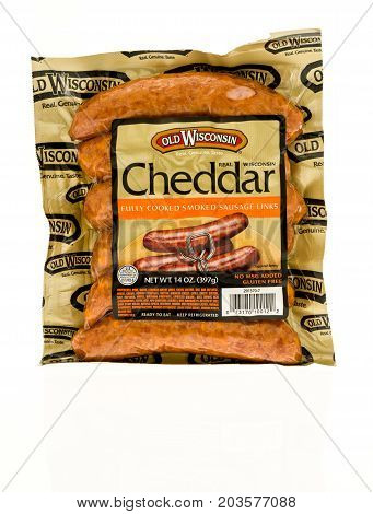 Winneconne WI - 4 September 2017: A package of Old Wisconsin smoked sausages in cheddar flavor on an isolated background.