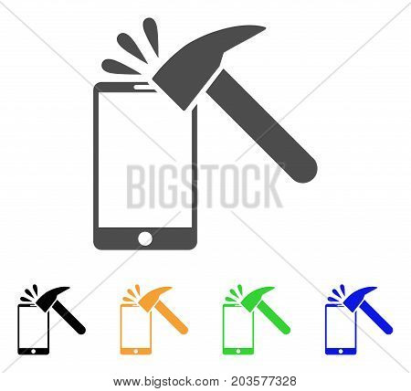 Hammer Break Smartphone icon. Vector illustration style is a flat iconic hammer break smartphone symbol with black, gray, green, blue, yellow color versions. Designed for web and software interfaces.