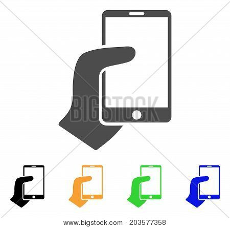 Hand Hold Smartphone icon. Vector illustration style is a flat iconic hand hold smartphone symbol with black, grey, green, blue, yellow color variants. Designed for web and software interfaces.