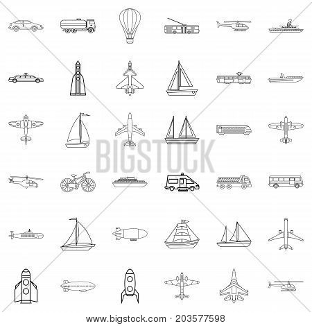 Blimp icons set. Outline style of 36 blimp vector icons for web isolated on white background