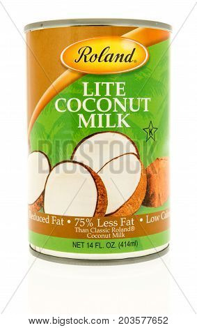 Winneconne WI - 7 September 2017: A can of Roland lite coconut milk on an isolated background.