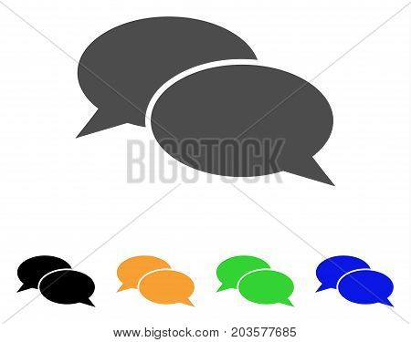 Message Clouds icon. Vector illustration style is a flat iconic message clouds symbol with black, grey, green, blue, yellow color versions. Designed for web and software interfaces.