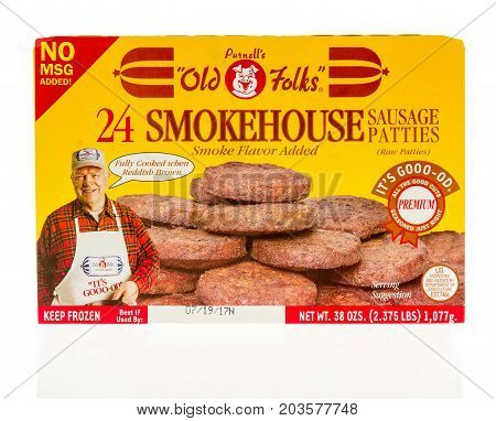 Winneconne WI - 7 September 2017: A box of Purnell's old folks smokehouse sausage patties on an isolated background.