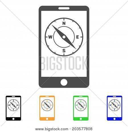 Mobile Compass icon. Vector illustration style is a flat iconic mobile compass symbol with black, grey, green, blue, yellow color variants. Designed for web and software interfaces.