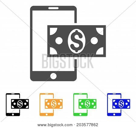 Mobile Dollar Cash icon. Vector illustration style is a flat iconic mobile dollar cash symbol with black, grey, green, blue, yellow color versions. Designed for web and software interfaces.