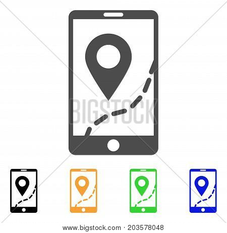 Mobile Map Navigation icon. Vector illustration style is a flat iconic mobile map navigation symbol with black, grey, green, blue, yellow color versions. Designed for web and software interfaces.