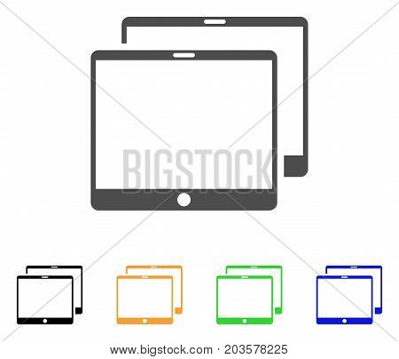 Mobile Tabs icon. Vector illustration style is a flat iconic mobile tabs symbol with black, gray, green, blue, yellow color versions. Designed for web and software interfaces.