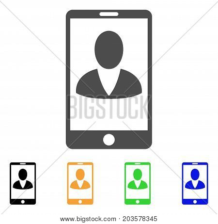 Mobile User Profile icon. Vector illustration style is a flat iconic mobile user profile symbol with black, gray, green, blue, yellow color versions. Designed for web and software interfaces.