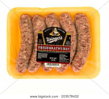 Winneconne WI - 7 September 2017: A package of Usinger's fresh bratwurst on an isolated background.
