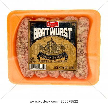 Winneconne WI - 7 September 2017: A package of Klement's bratwurst on an isolated background.