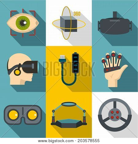 VR innovation icon set. Flat style set of 9 vr innovation vector icons for web design