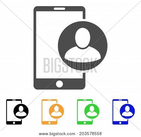 Phone User Profile icon. Vector illustration style is a flat iconic phone user profile symbol with black, grey, green, blue, yellow color variants. Designed for web and software interfaces.