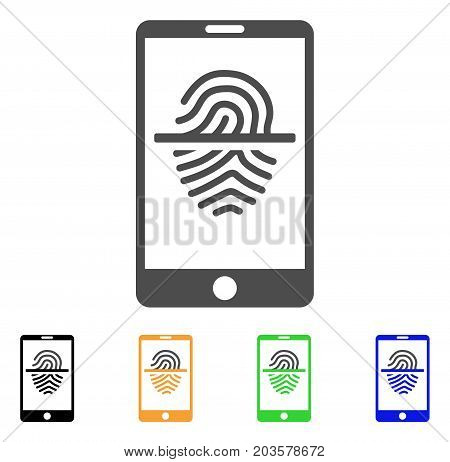 Smartphone Fingerprint Scanner icon. Vector illustration style is a flat iconic smartphone fingerprint scanner symbol with black, gray, green, blue, yellow color variants.