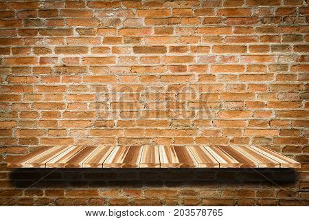 Perspective Wood And Empty Top Wooden Shelves  With Stone Wall Background For Display Product On She