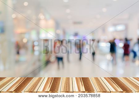 Perspective Wood And Empty Top Wooden Shelves Of Supermarket/mall For Background And Shopping Fashio