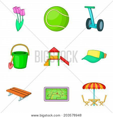 Outdoor park activities icon set. Cartoon set of 9 outdoor park activities vector icons for web design isolated on white background