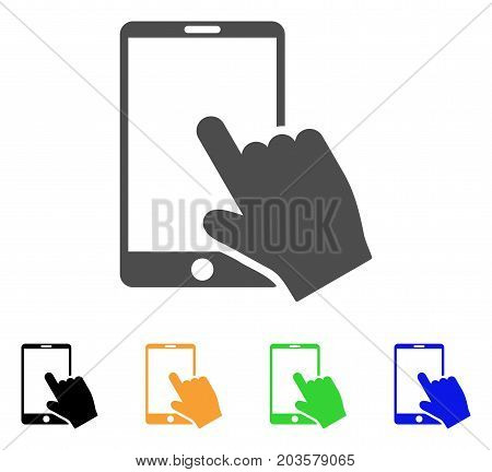 Touch Smartphone icon. Vector illustration style is a flat iconic touch smartphone symbol with black, gray, green, blue, yellow color variants. Designed for web and software interfaces.