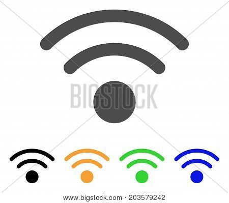 Wi-Fi icon. Vector illustration style is a flat iconic wi-fi symbol with black, grey, green, blue, yellow color versions. Designed for web and software interfaces.