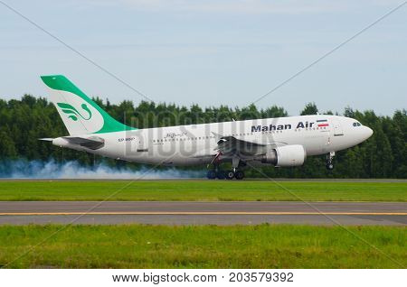 Airbus A310 Mahan Air, Airport Pulkovo, Russia Saint-petersburg August 10, 2017.