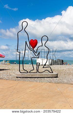 BATUMI GEORGIA - September 1 2017: Sculpture symbilizing love for two on Batumi boulevard. Batumi is a very popular destination on Black Sea