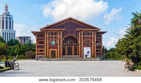 BATUMI GEORGIA - September 1 2017: Batumi boulevard and the Summer Theatre. Batumi is a very popular destination on Black Sea