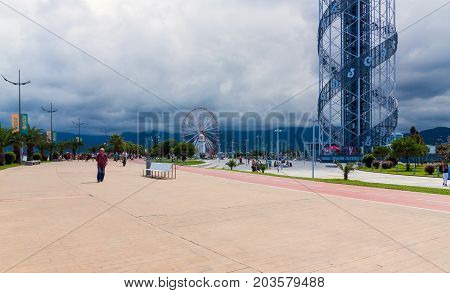 BATUMI GEORGIA - September 1 2017: Alphabetic Tower on Batumi boulevard. Batumi is a very popular destination on Black Sea