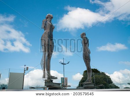 BATUMI GEORGIA - September 1 2017: Moving metal sculpture Ali and Nino by Tamara Kvesitadze in Batumi