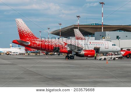 Airbus A319 Rossiya Airlines, Airport Pulkovo, Russia Saint-petersburg August 10, 2017