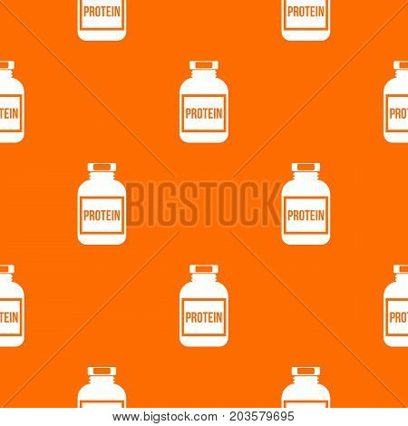 Nutritional supplement for athletes pattern repeat seamless in orange color for any design. Vector geometric illustration