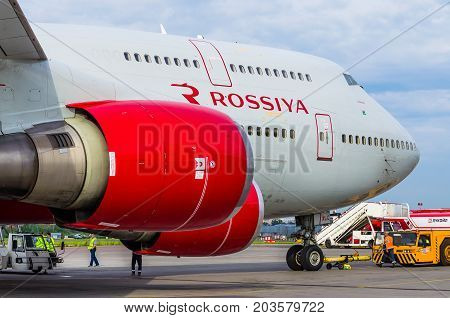 Boeing 747 Rossiya Airlines, Airport Pulkovo, Russia Saint-petersburg August 10, 2017