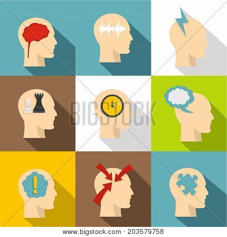 Head think icon set. Flat style set of 9 head think vector icons for web design
