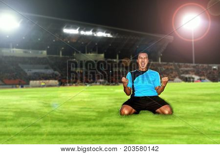 Soccer Football Player Young Man Happiness Joy Kneeling And Soccer Players Team Group Celebrating Th