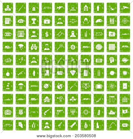 100 antiterrorism icons set in grunge style green color isolated on white background vector illustration
