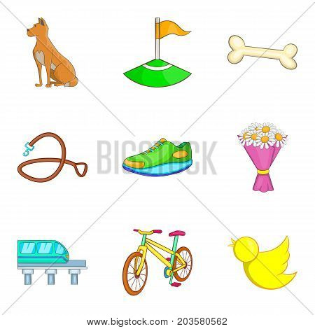 City park recreation icon set. Cartoon set of 9 city park recreation vector icons for web design isolated on white background