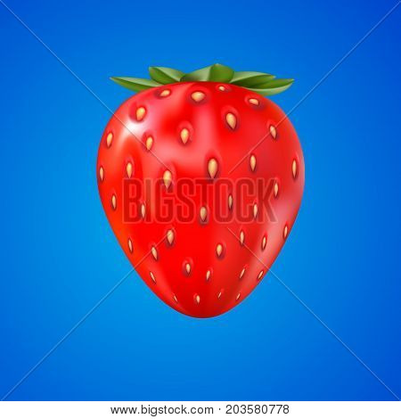 3d strawberry isolated on blue. close-up view of red fresh berry. vector.