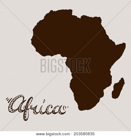 Africa continent silhouette and hand drawn title. Freehand lettering and abstract map element. Vector illustration.