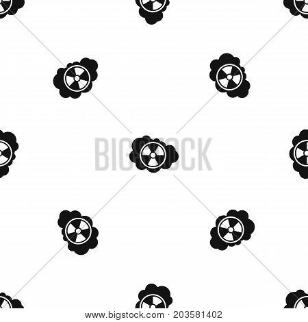 Cloud and radioactive sign pattern repeat seamless in black color for any design. Vector geometric illustration