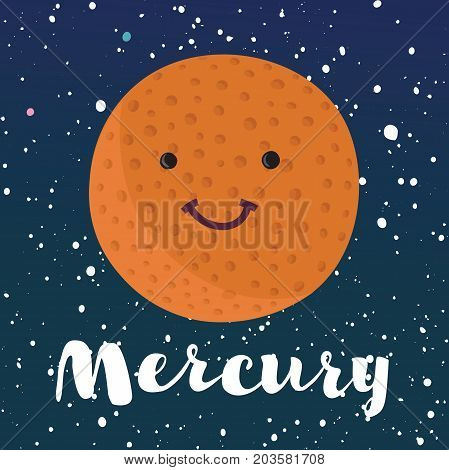 Vector cartoon illustration of planet Mercury on space stars dark sky background. Hand drawn lettering name