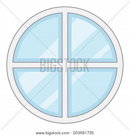 Round window frame icon. Cartoon illustration of round window frame vector icon for web