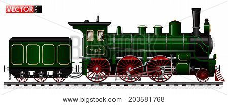 An Old Locomotive Of Green Color With A Steam Engine And A Tender. Side View. Traced Details And Mec