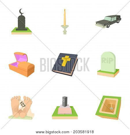 Ritual service icons set. Cartoon set of 9 ritual service vector icons for web isolated on white background