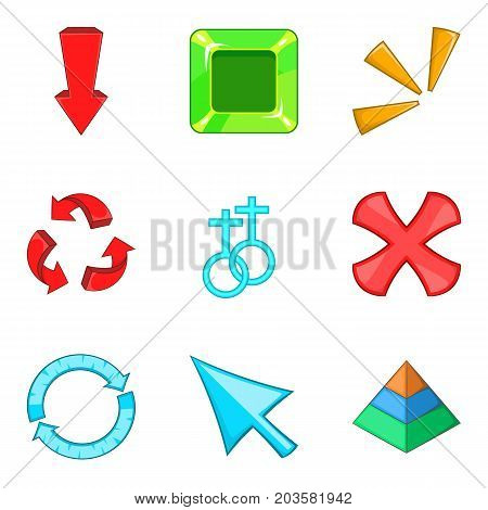 Arrowhead icons set. Cartoon set of 9 arrowhead vector icons for web isolated on white background