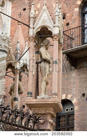 The tomb of Cansignorio one of five gothic Scaliger Tombs or Arche Scaligeri in Verona Italy