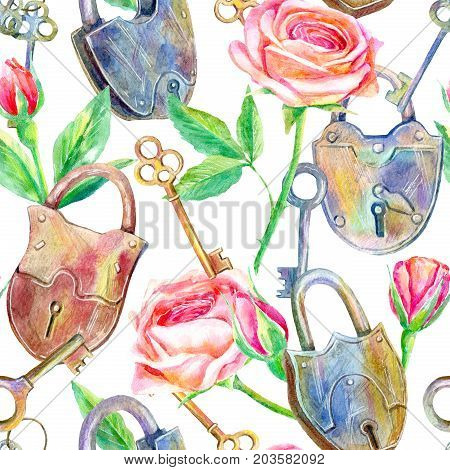 Seamless pattern of a padlock, key and roses.Briar and herbs.Image for fabric, paper and other printing and web projects.Watercolor hand drawn illustration.White background.