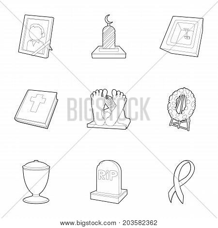Ritual service icons set. Outline set of 9 ritual service vector icons for web isolated on white background