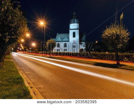 Church in Zory in the evening. Poland Europe.