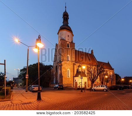 Church in Zory after sunset. Poland Europe.