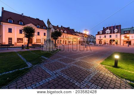 Centre of Zory after sunset. Poland Europe.