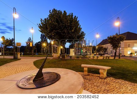 Sundial in Zory after sunset. Poland Europe.